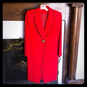 DAVID HAYES red coat dress vintage size 6